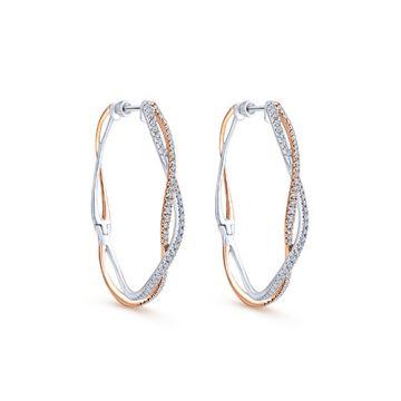Gabriel & Co. 14k White and Rose Gold Diamond Hoop Earrings