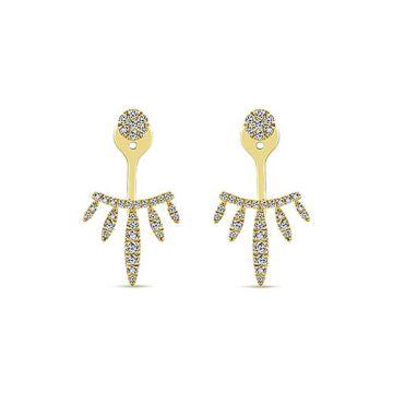 Gabriel & Co. 14k Yellow Gold Gemini Earrings Diamond Peek a Boo Earrings