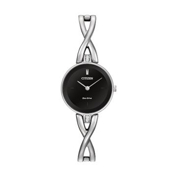 Citizen Eco Drive Stainless Steel Black Dial 23 mm Women's Watch