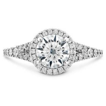 Hearts on Fire Platinum Split Shank Halo Engagement Ring
