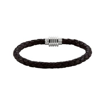 Stainless Steel & Dark Brown Braided Leather Bracelet with Magnetic Clasp