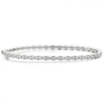 Hearts on Fire 1.12 ctw. Lorelei Floral Diamond Bangle in 18K White Gold