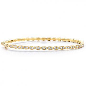 Hearts on Fire 1.12 ctw. Lorelei Floral Diamond Bangle in 18K Yellow Gold