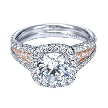 Gabriel & Co. 14k Two Tone Gold Contemporary Halo Diamond Engagement Ring