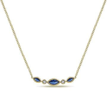 Gabriel & Co. 14k Yellow Gold Indulgence Diamond,Gemstone Necklace