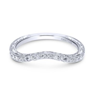 Gabriel & Co. Platinum Victorian Diamond Wedding Band