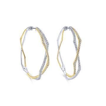 Gabriel & Co. 14k White and Yellow Gold Diamond Hoop Earrings