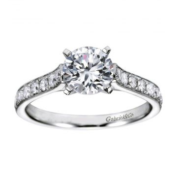 Gabriel & Co. 14k White Gold Victorian Straight Diamond Engagement Ring