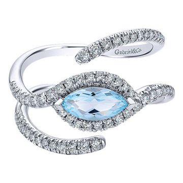 Gabriel & Co. 14k White Gold Lusso Color Diamond and Gemstone Ring
