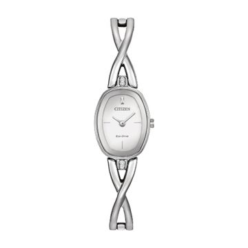 Citizen Eco Drive Stainless Steel White Dial 24x18 mm Women's Watch