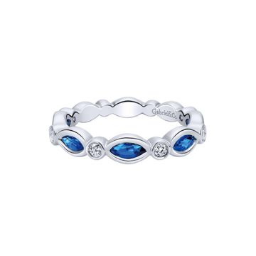 Gabriel & Co. 14k White Gold Diamond and Gemstone Ring