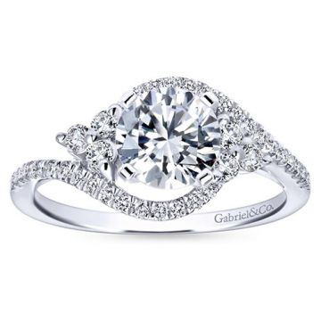 Gabriel & Co. 14k White Gold Contemporary Bypass Diamond Engagement Ring
