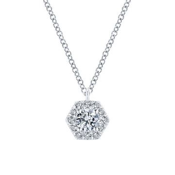 Gabriel & Co. 14k White Gold Clustered Diamond Necklace