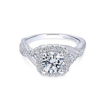 Gabriel & Co. 14k White Gold Riata Halo Diamond Engagement Ring
