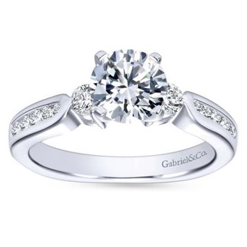 Gabriel & Co. 14k White Gold Contemporary 3 Stone Diamond Engagement Ring