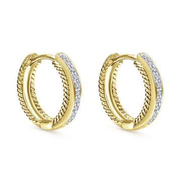 Gabriel & Co. 14k Yellow Gold Diamond Huggie Earrings