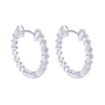 Gabriel & Co. 14k White Gold Diamond Huggie Earrings