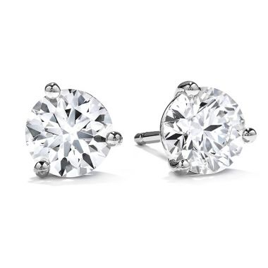 Hearts on Fire 2.3 ctw. Three-Prong Stud Earrings in 18K White Gold