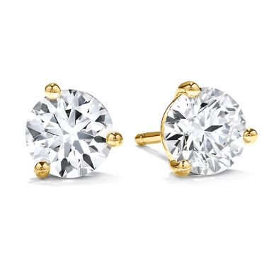 Hearts on Fire 1.5 ctw. Three-Prong Stud Earrings in 18K Yellow Gold