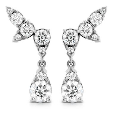 Hearts on Fire 4.2 ctw. Aerial Diamond Drop Ear Vine Earrings in 18K White Gold