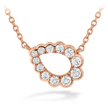 Hearts on Fire 0.3 ctw. Aerial Regal Scroll Teardrop Necklace in 18K Rose Gold