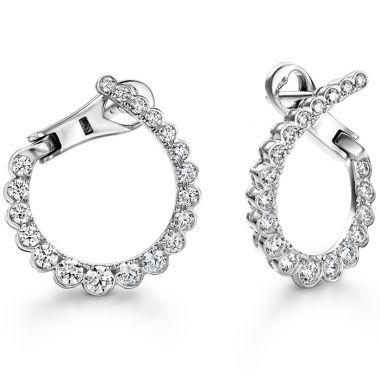 Hearts on Fire 0.98 ctw. Aerial Regal Diamond Hoops- Small in 18K White Gold