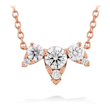 Hearts on Fire 0.45 ctw. Aerial Triple Diamond Necklace in 18K Rose Gold