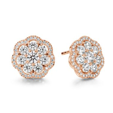 Hearts on Fire 2.42 ctw. Aurora Cluster Earrings in 18K Rose Gold