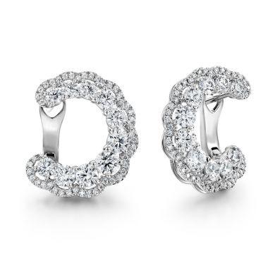Hearts on Fire 3.35 ctw. Aurora Hoop Earrings in 18K White Gold
