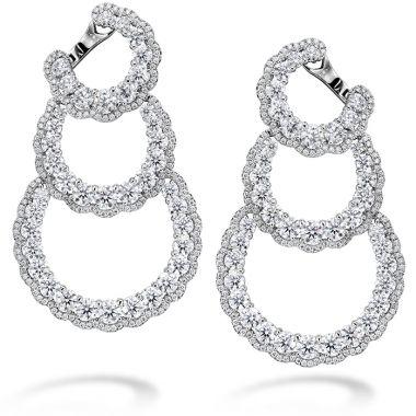 Hearts on Fire 13.84 ctw. Aurora Triple Tier Hoop Earrings in 18K White Gold