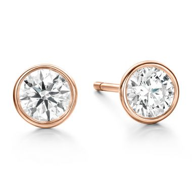 Hearts on Fire 0.67 ctw. HOF Classic Bezel Studs in 18K Rose Gold