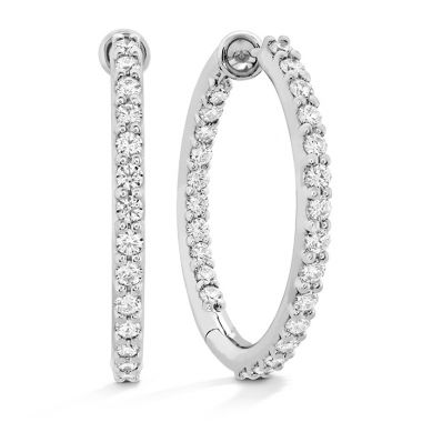 Hearts on Fire 0.8 ctw. HOF Classic Dia Hoop Inside-Out - Medium in 18K Rose Gold