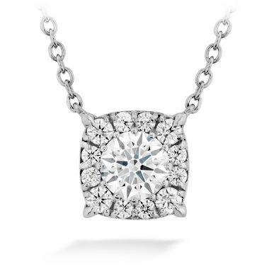 Hearts on Fire 0.24 ctw. HOF Custom Halo Diamond Pendant in 18K White Gold
