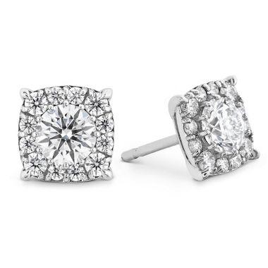 Hearts on Fire 0.47 ctw. HOF Custom Halo Diamond Stud Earrings in 18K White Gold