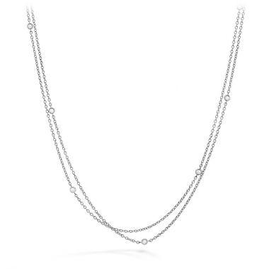 Hearts on Fire 0.1 ctw. HOF Double Chain Bezel Necklace in 18K Rose Gold