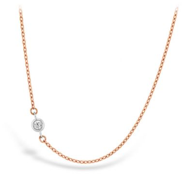 Hearts on Fire HOF Signature Off-Set Single Bezel Necklace in 18K Yellow Gold w/Platinum