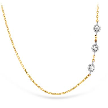 Hearts on Fire 0.05 ctw. HOF Signature Off-Set Triple Bezel Necklace in 18K Yellow Gold w/Platinum