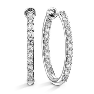 Hearts on Fire 0.66 ctw. HOF Oval Classic Diamond Hoop Inside-Out - Medium in 18K Yellow Gold