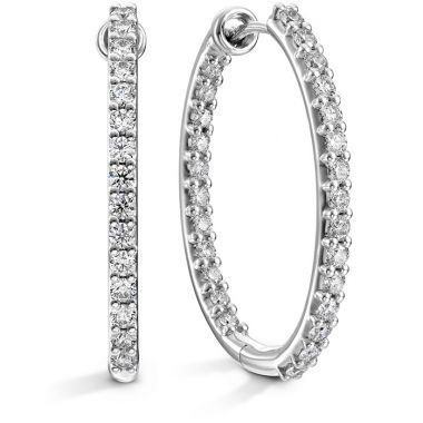 Hearts on Fire 1.4 ctw. HOF Oval Classic Diamond Hoope Inside-Out - Large in 18K White Gold
