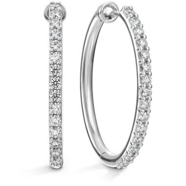 Hearts on Fire 0.96 ctw. HOF Oval Classic Diamond Hoop - Large in 18K White Gold