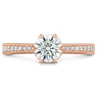 Hearts on Fire 0.1 ctw. HOF Signature 6 Prong Engagement Ring - Diamond Band in 18K Rose Gold
