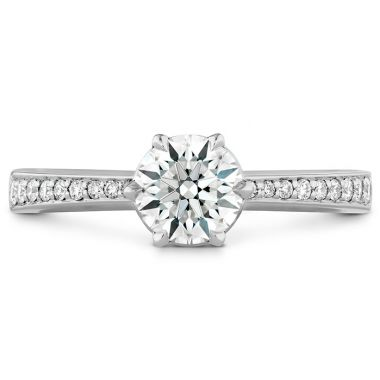 Hearts on Fire 0.1 ctw. HOF Signature 6 Prong Engagement Ring - Diamond Band in Platinum