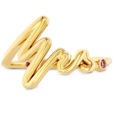 Hearts on Fire Love Code - Mrs Code Band with Sapphires in 18K Yellow Gold
