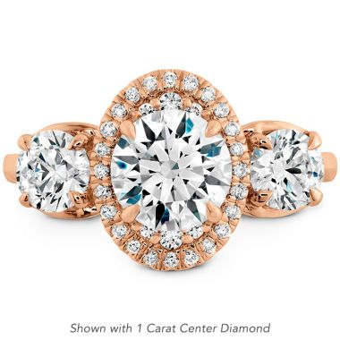 Hearts on Fire 0.83 ctw. Juliette 3 Stone Oval Halo Engagement Ring in 18K Rose Gold