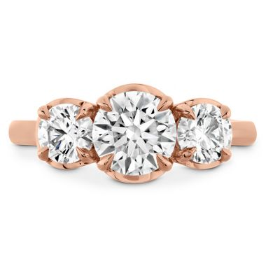Hearts on Fire 0.77 ctw. Juliette HOF Three Stone Semi-Mount in 18K Rose Gold