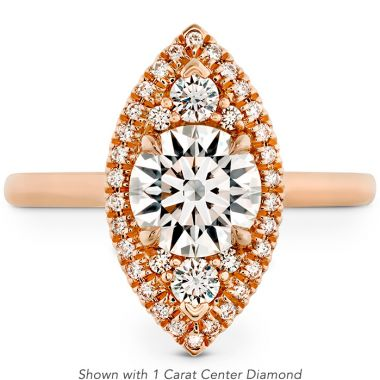 Hearts on Fire 0.55 ctw. Juliette Marquise Halo Engagement Ring in 18K Rose Gold