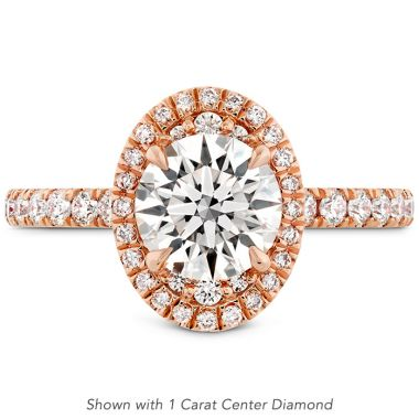 Hearts on Fire 0.43 ctw. Juliette Oval Halo Diamond Engagement Ring in 18K Rose Gold