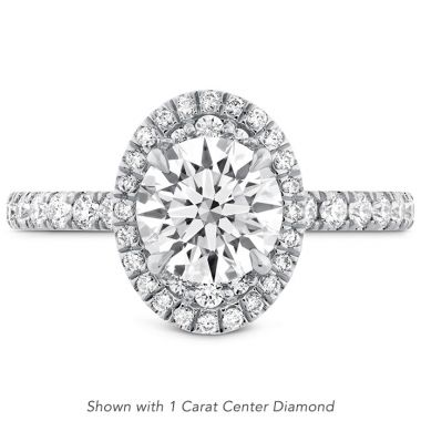 Hearts on Fire 0.44 ctw. Juliette Oval Halo Diamond Engagement Ring in 18K White Gold