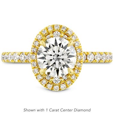 Hearts on Fire 0.48 ctw. Juliette Oval Halo Diamond Engagement Ring in 18K Yellow Gold