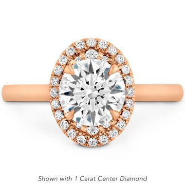Hearts on Fire 0.14 ctw. Juliette Oval Halo Engagement Ring in 18K Rose Gold